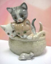 Curious Kittens - In Basket Looking At Mouse 2013 Porcelain By Lladro #8693