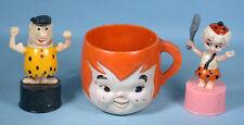 1960s Flintstones 2 Plastic Push Puppet Toys & Pebbles Mug Hanna-Barbera Prod.