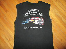 ANGIES WASHINGTON PA HARLEY DAVIDSON T SHIRT Sleeveless Biker Motorcycle Eagle L