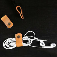 Leather Headphone Earphone Earbud Cable Tie Cord Wrap Winder Organizer Holder SL