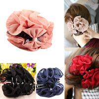 KQ_ Fashion Womens Chiffon Rose Flower Bow Jaw Clip Barrette Hair Claw Gift Welc
