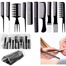 10 PIECE HIGH QUALITY HAIR STYLING COMB SET PROFESSIONAL BLACK BRUSH BARBERS