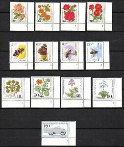 BRD Bund Lot Zuschlagsmarken mit Plattennummern (413)
