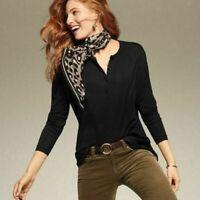 CAbi Women's Size M Black Henley Soft Stretch Top Tunic Jersey Knit #3624