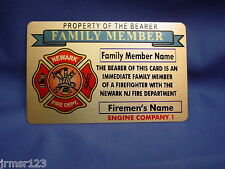 NFD NEWARK NJ -FIRE DEPARTMENT -  FAMILY MEMBER BRASS CARD  -  PBA - FOP - FMBA
