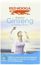 4 X Red Kooga Ginseng Coreano y Ginkgo Biloba 32 tabletas