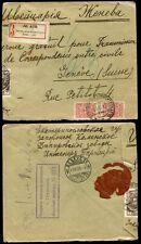 RUSSIA REGISTERED 1915 FORWARDED CIVIL MAILS RESEALED GENEVA