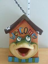WELCOME Bird House With Frog Face. Polystone 6.5 inches Tall 8 inch Chain