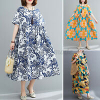 UK Womens Summer Casual Loose Long Sundress Floral Printed Baggy Dress Plus Size