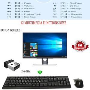 Multimedia Wireless USB Keyboard & Mouse Combo Set 2.4GHz For Desktop PC Laptop