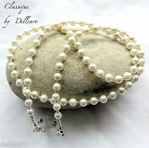 ✫CLASSIQUE✫ BEADED IVORY GLASS PEARL EYEGLASS NECKLACE SPECTACLES CHAIN HOLDER