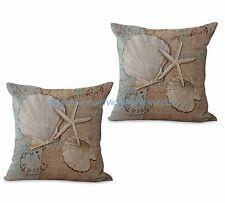 US SELLER-set of 2 beach coastal seashell starfish cushion cover home decorating