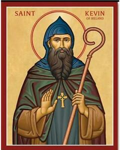 "Medium 8"" x 10"" Saint Kevin of Ireland Wood Icon"