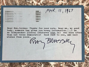 1967 Signed Declaration by Ray Bradbury that He Is NOT a Republican!