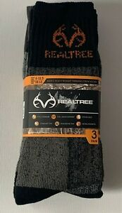 Realtree Men's Heavyweight Thermal Crew Socks 3 Pair Full Cushion 9-13 NEW