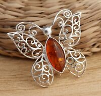 Cognac Baltic Amber 925 Sterling Silver Butterfly Stylish Brooch Pin Jewellery