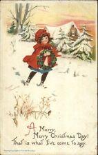 Frances Brundage Christmas - Little Girl in Snow c1910 Postcard