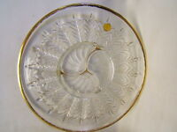 "Jeannette Glass Co 22K Gold Decorated 14"" Round Divided Serving Platter w/ Label"