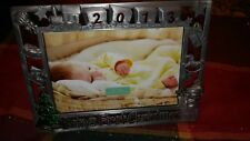 BABY'S FIRST CHRISTMAS HOLIDAY PICTURE FRAME 2013 METAL