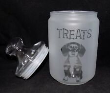 "New Etched ""DACHSHUND"" 1 Litre Glass Treat Jar - Superb Gift - Practical & Novel"