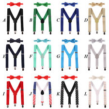 Baby Kids Toddler Boy Suspenders Bowtie Outfit Cake Smash Photography Photo Prop