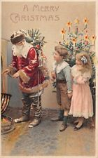 HOLD TO LIGHT SANTA IN RED SUIT CHRISTMAS POSTCARD, BOY & GIRL, TOYS c. 1904-14