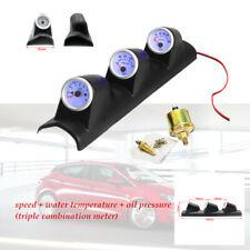 2''Black Car Triple Gauge Kit 3in1 Tachometer RPM Water Temp Oil Pressure Gauge