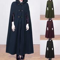 Damen Ärmellos Hoodie Cape Vintage Retro Lange Freizeit Mantel Umhang Outwear