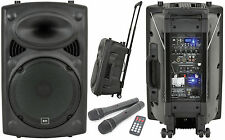 QTX QR15PA Portable PA System Battery Powered USB Sound + 2 x Wireless Handheld