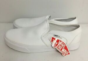 Vans Womens Asher Classic Canvas Slip On True White Skate Shoes Size 11