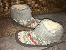 Lucky Brand Slippers Boots Suede Nordic Fair Isle Sweater Gray, Cream, Orange 8