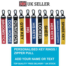 Custom HOME Key Chain Key ring Luggage Personalised Name Text Tag Zipper Pull