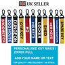 Custom HOME Key Chain Key ring Luggage Personalised Name Text Tag Zipper Pull