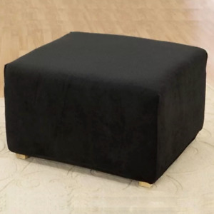 Sure Fit Stretch pique waffle weave Ottoman Slipcover Black NEW