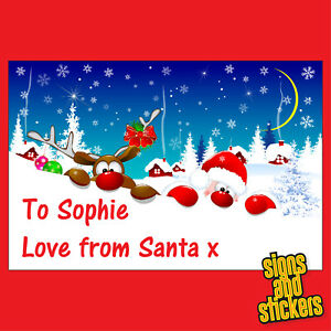 40 Personalised santa Christmas Stickers tags gift xmas parcels presents labels