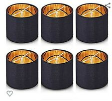 Wellmet Chandelier Shades Candle BulbsClip-on Drum shaped,Set of 6, black&gold