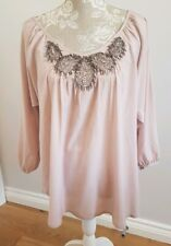 ladies pink long sleeve blouse (marks see pics) size medium matalanmatalan