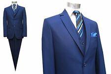 Herren Anzug 4-teilig Slim-fit Gr.58 Marine Blau