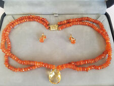 14k Gold Orange and Yellow Faceted Citrine Necklace Earring Set Signed STS