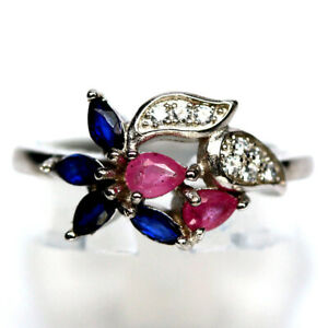 NATURAL HEATED BLUE SAPPHIRE WITH PINK RUBY & CZ RING 925 STERLING SILVER