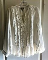 Joie Women's Top Tuxedo Front Button Up Long Sleeve Blouse Size Small