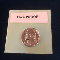 "1963-Proof Jefferson Nickel Gem BU. With Mint ""Luster"""