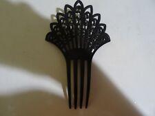 Vintage Mantilla Peineta Comb Black Celluloid With Black Rhinstones