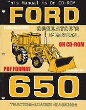 Ford 650 Tractors Loader Backhoe Operators Owner Manual Operation Maintenance