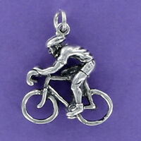 Bicycle Rider Charm Sterling Silver for Charm Bracelet Cyclist Racing Bike
