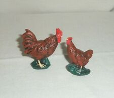 Lot 2 Miniature Dollhouse Farm Animal Chicken Rooster Hen Bird Figurine Brown