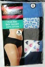 Joe Boxer Women's Plus Size Boy Short 100% Cotton 5-Pk Panties Underwear