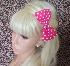 "HANDMADE 5"" PINK WHITE POLKA DOT SPOT COTTON FABRIC BOW HAIR CLIP RETRO STYLE"
