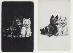 A30 Vintage Pair of  Playing Cards Scottie  dogs black n white whiskey