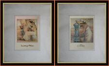 2 graziose fotolitografie con sposa bicicletta e fontanella di Innocenzo Melani